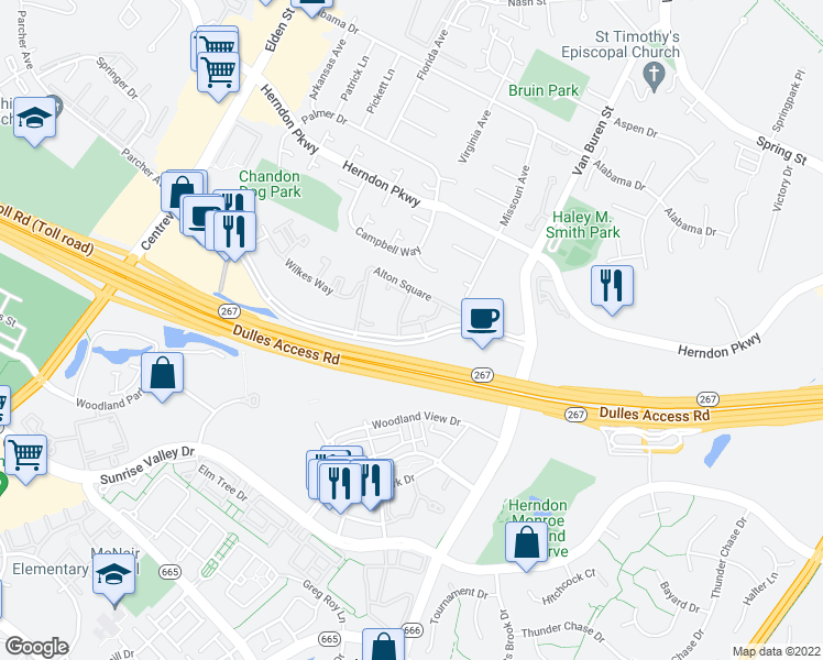 map of restaurants, bars, coffee shops, grocery stores, and more near 2109 Highcourt Lane in Herndon