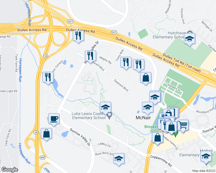 map of restaurants, bars, coffee shops, grocery stores, and more near 2343 Dulles Station Boulevard in Herndon