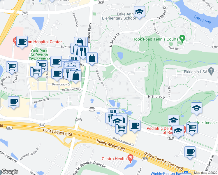 map of restaurants, bars, coffee shops, grocery stores, and more near 1815 Sycamore Valley Drive in Reston