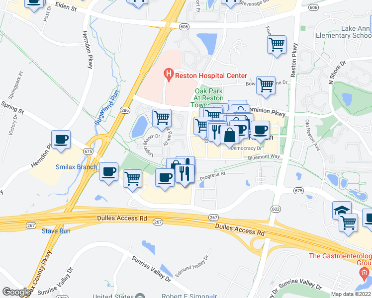map of restaurants, bars, coffee shops, grocery stores, and more near 12070 Kinsley Place in Reston