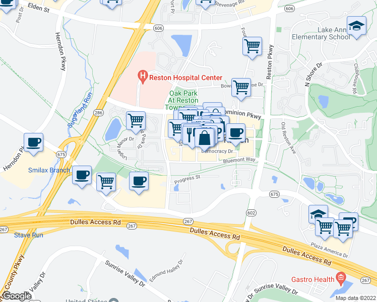 map of restaurants, bars, coffee shops, grocery stores, and more near 12025 Town Square Street in Reston