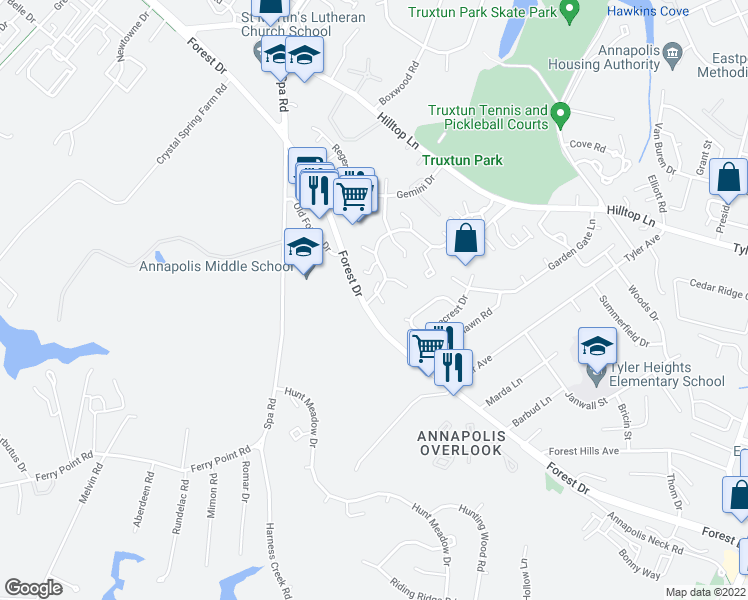 map of restaurants, bars, coffee shops, grocery stores, and more near 4 Muir Woods Court in Annapolis