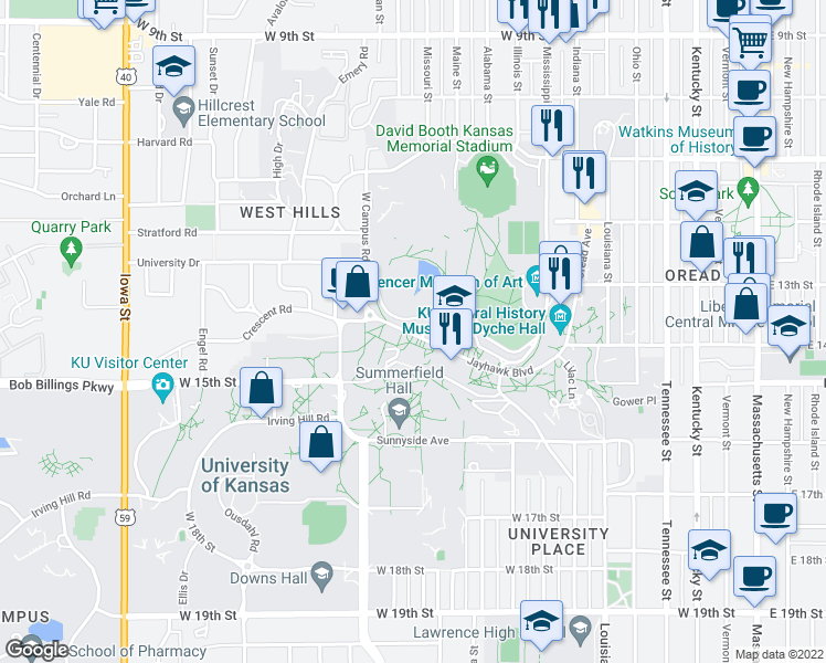 map of restaurants, bars, coffee shops, grocery stores, and more near 1450 Jayhawk Boulevard in Lawrence