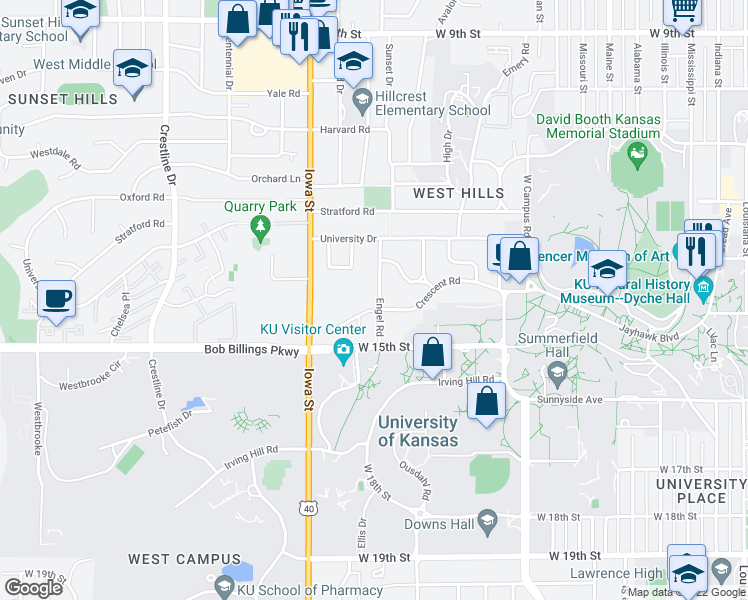 map of restaurants, bars, coffee shops, grocery stores, and more near 1351 Engel Road in Lawrence