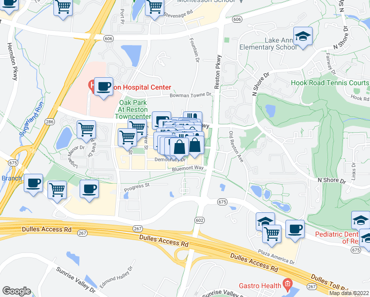 map of restaurants, bars, coffee shops, grocery stores, and more near in Reston
