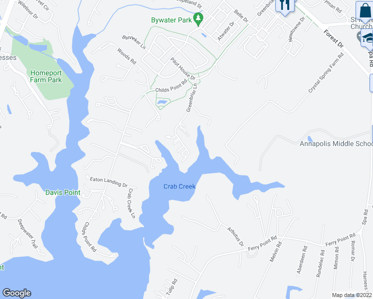 map of restaurants, bars, coffee shops, grocery stores, and more near 2660 Green Briar Lane in Annapolis