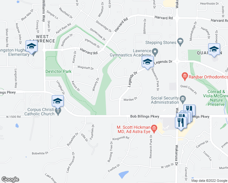 map of restaurants, bars, coffee shops, grocery stores, and more near 1444 Legends Circle in Lawrence