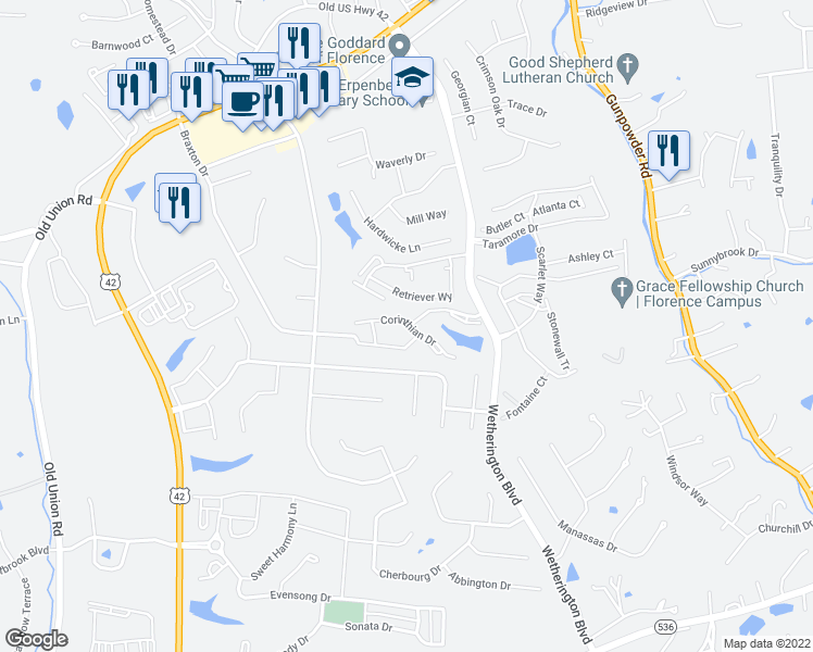 map of restaurants, bars, coffee shops, grocery stores, and more near 1620 Corinthian Drive in Florence