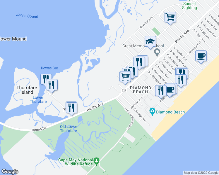map of restaurants, bars, coffee shops, grocery stores, and more near 100 East Raleigh Avenue in Wildwood