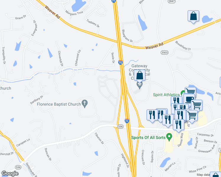 map of restaurants, bars, coffee shops, grocery stores, and more near 550 Mt Zion Rd in Florence