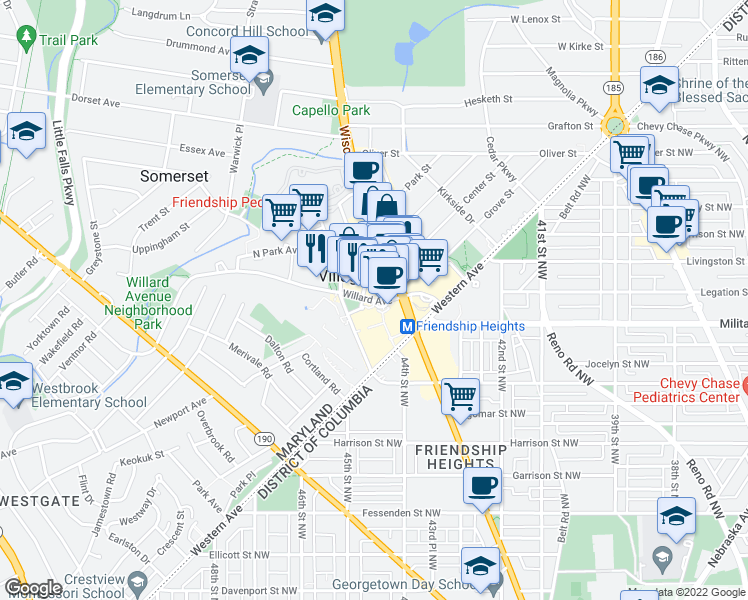 map of restaurants, bars, coffee shops, grocery stores, and more near 4440 Willard Avenue in Bethesda