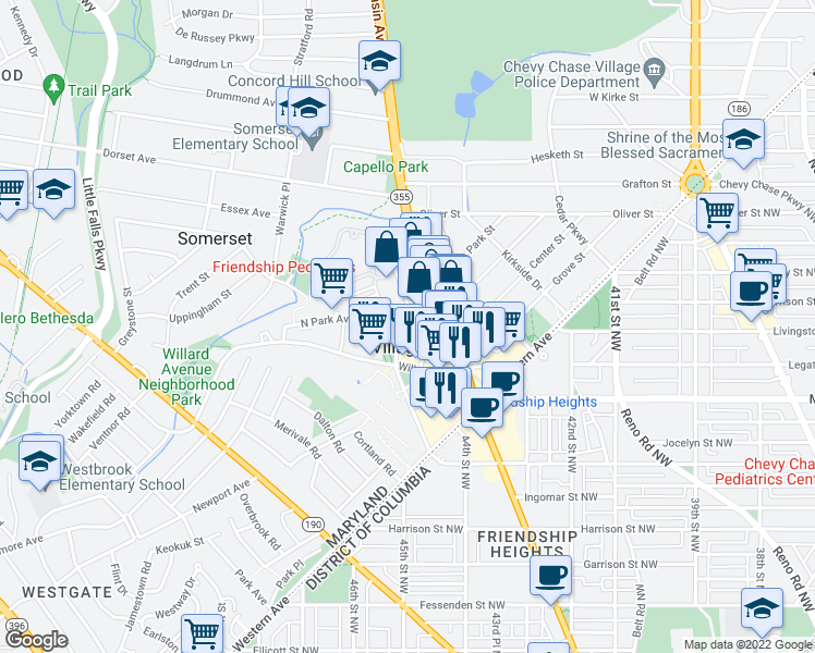 map of restaurants, bars, coffee shops, grocery stores, and more near 4411 South Park Avenue in Chevy Chase
