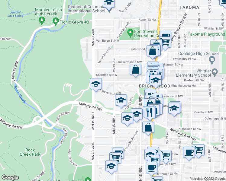 map of restaurants, bars, coffee shops, grocery stores, and more near 6100 14th Street Northwest in Washington