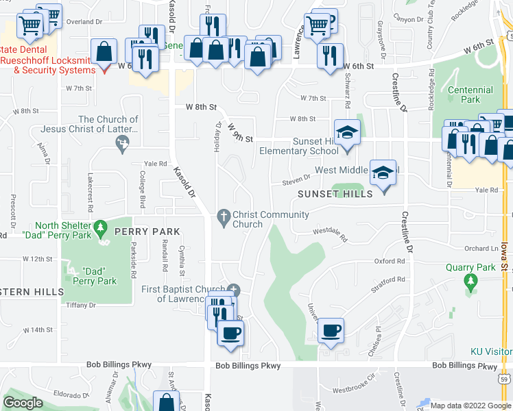 map of restaurants, bars, coffee shops, grocery stores, and more near 1046 Jana Drive in Lawrence
