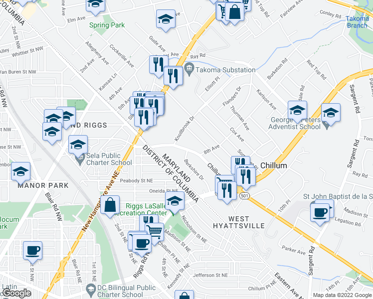 map of restaurants, bars, coffee shops, grocery stores, and more near 709 Rittenhouse Street in Hyattsville