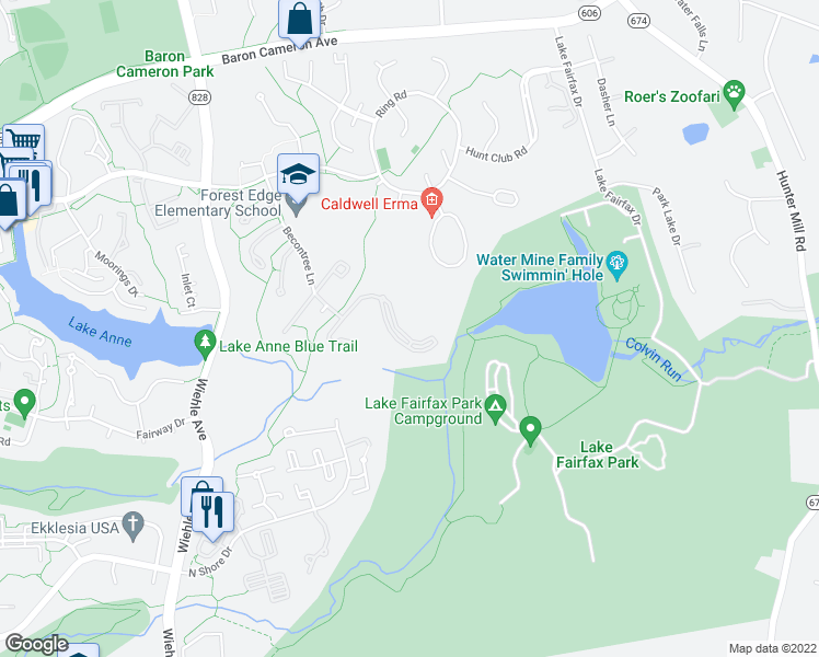 map of restaurants, bars, coffee shops, grocery stores, and more near 11012 Becontree Lake Drive in Reston