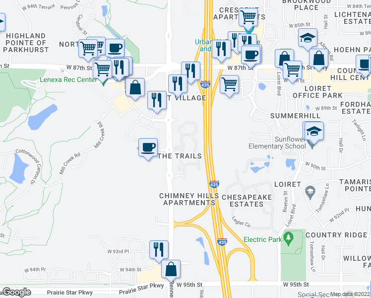 map of restaurants, bars, coffee shops, grocery stores, and more near 9001 Renner Boulevard in Lenexa
