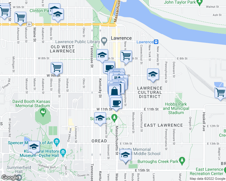 map of restaurants, bars, coffee shops, grocery stores, and more near 10 West 10th Street in Lawrence