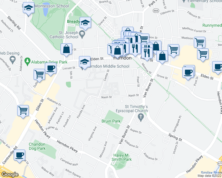 map of restaurants, bars, coffee shops, grocery stores, and more near 508 Pride Avenue in Herndon