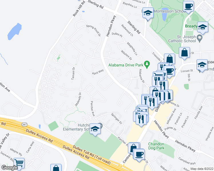 map of restaurants, bars, coffee shops, grocery stores, and more near 1222 Springtide Place in Herndon