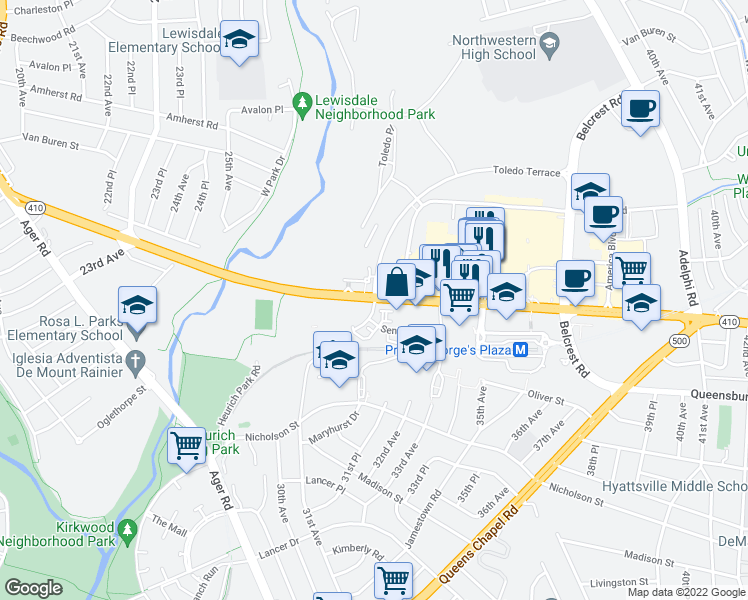 map of restaurants, bars, coffee shops, grocery stores, and more near 3401-3461 East West Highway in Hyattsville