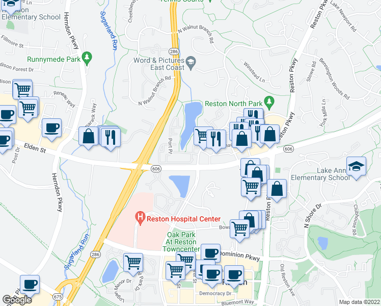 map of restaurants, bars, coffee shops, grocery stores, and more near 12008-12040 Cameron Pond Drive in Reston
