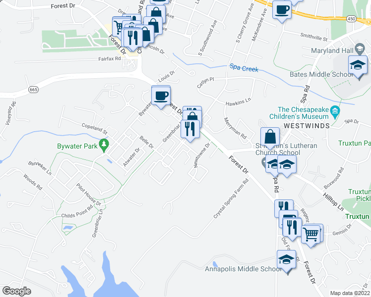 map of restaurants, bars, coffee shops, grocery stores, and more near 803 Skippers Lane in Annapolis