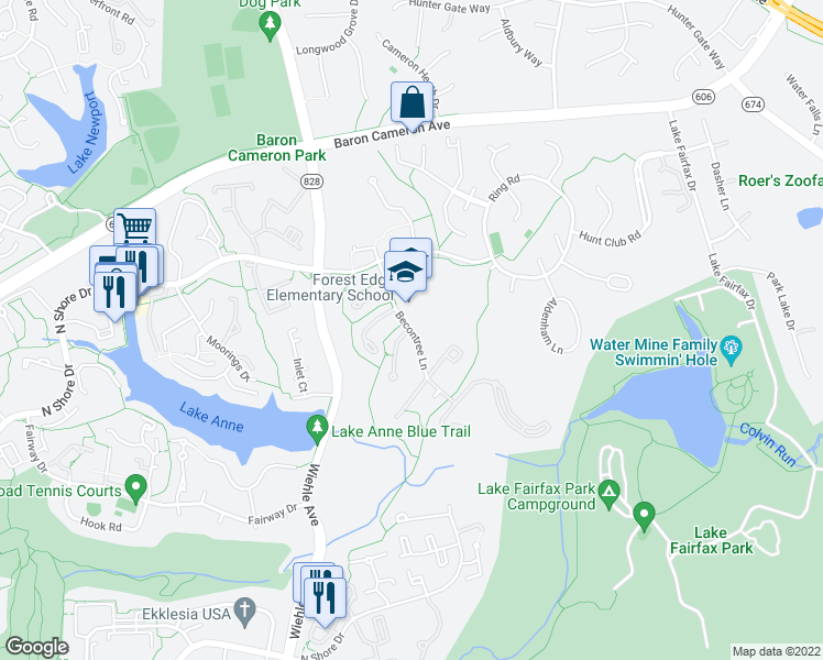 map of restaurants, bars, coffee shops, grocery stores, and more near 1501 Becontree Lane in Reston