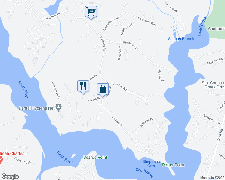 map of restaurants, bars, coffee shops, grocery stores, and more near 501 Post Oak Road in Annapolis