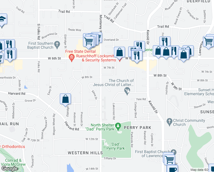 map of restaurants, bars, coffee shops, grocery stores, and more near 904 Christie Court in Lawrence