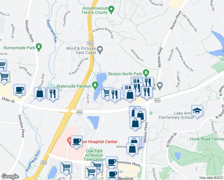 map of restaurants, bars, coffee shops, grocery stores, and more near 12032 Waterside View Drive in Reston