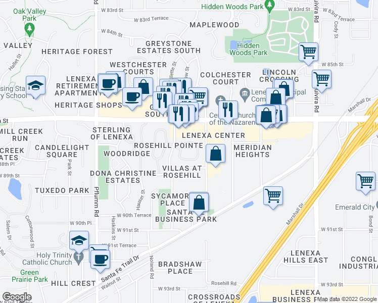 map of restaurants, bars, coffee shops, grocery stores, and more near 12701 West 88th Circle in Lenexa