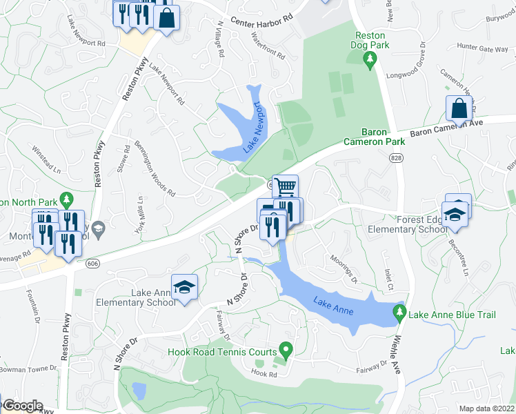 map of restaurants, bars, coffee shops, grocery stores, and more near 11419-11449 North Shore Drive in Reston