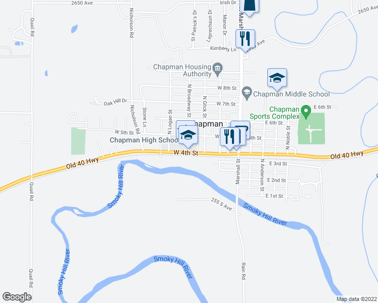 map of restaurants, bars, coffee shops, grocery stores, and more near 350-398 Old U.S. 40 in Chapman
