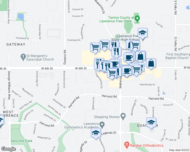map of restaurants, bars, coffee shops, grocery stores, and more near 5111 Congressional Circle in Lawrence