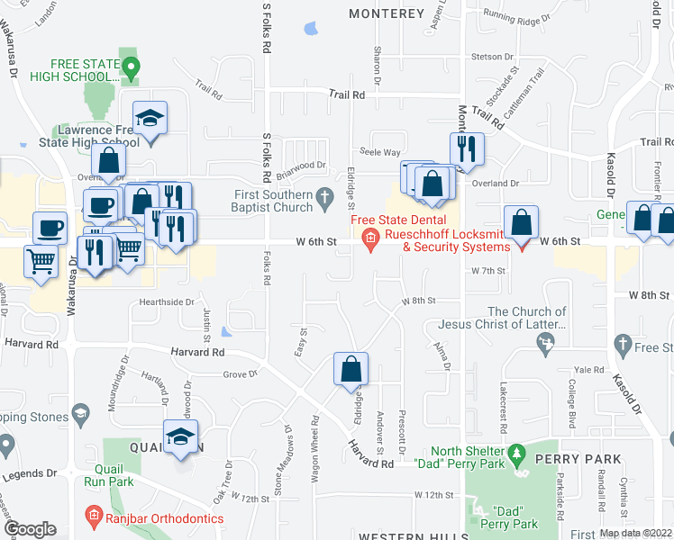 map of restaurants, bars, coffee shops, grocery stores, and more near 4218 Timberline Court in Lawrence