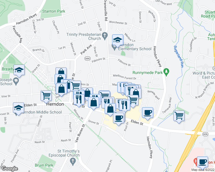 map of restaurants, bars, coffee shops, grocery stores, and more near 406 Madison Manor Court in Herndon