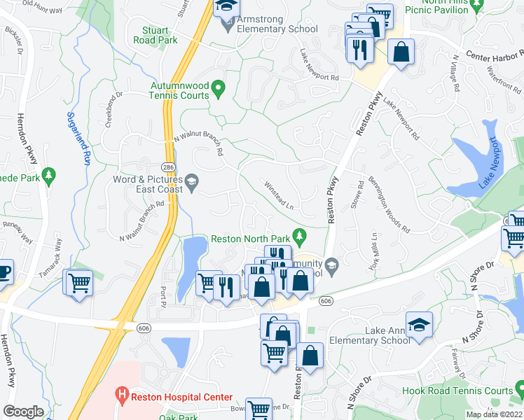map of restaurants, bars, coffee shops, grocery stores, and more near 1621 Fieldthorn Drive in Reston