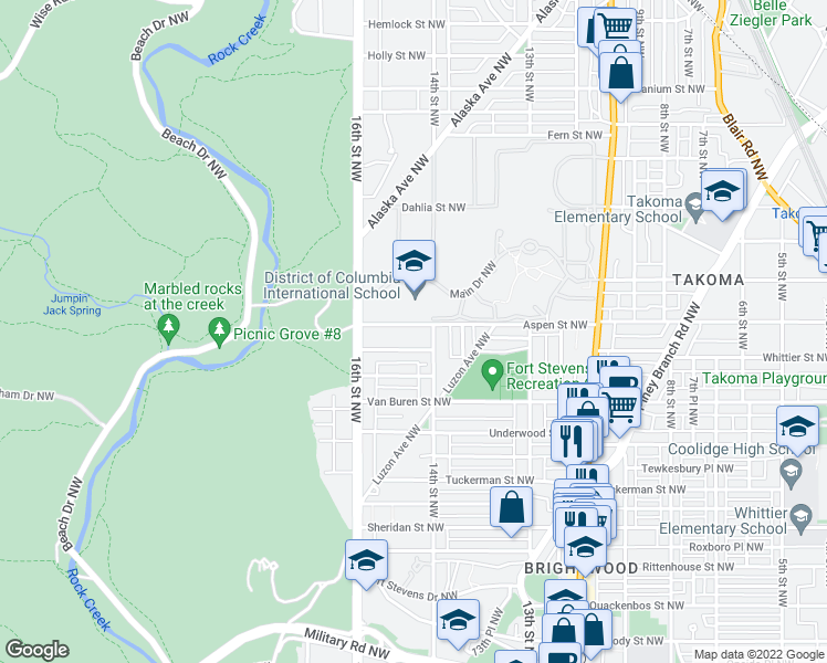 map of restaurants, bars, coffee shops, grocery stores, and more near 1416 Aspen Street Northwest in Washington