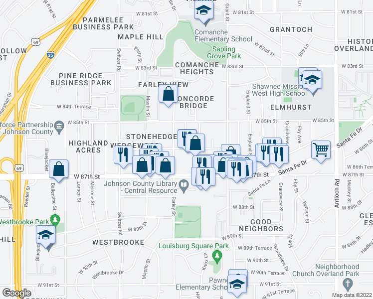map of restaurants, bars, coffee shops, grocery stores, and more near 9814-9898 West 86th Street in Overland Park