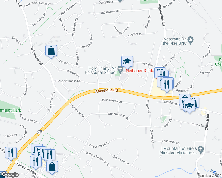 map of restaurants, bars, coffee shops, grocery stores, and more near 13329-13335 Annapolis Road in Bowie