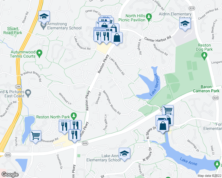 map of restaurants, bars, coffee shops, grocery stores, and more near 11690 Bennington Woods Road in Reston