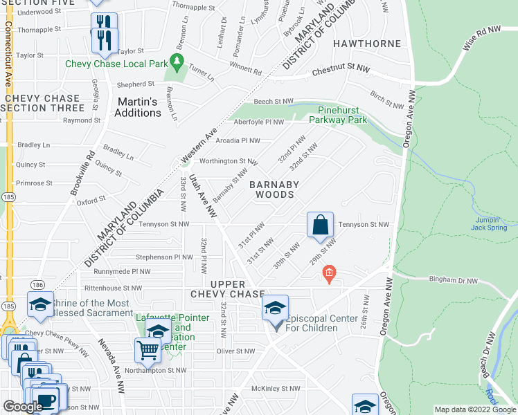 map of restaurants, bars, coffee shops, grocery stores, and more near 3172 Upland Terrace Northwest in Washington