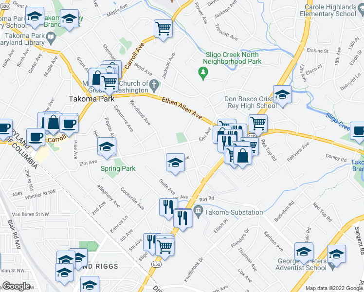 map of restaurants, bars, coffee shops, grocery stores, and more near 517 Elm Avenue in Takoma Park