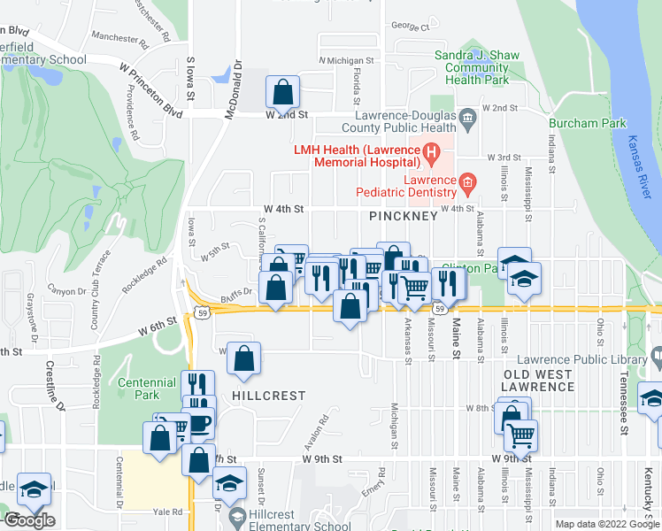 map of restaurants, bars, coffee shops, grocery stores, and more near 521 Minnesota Street in Lawrence