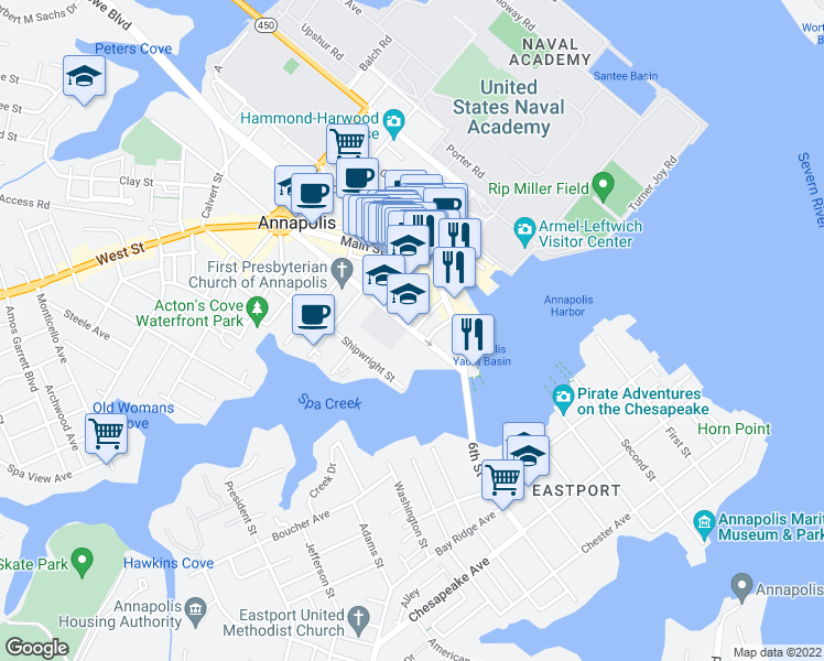 map of restaurants, bars, coffee shops, grocery stores, and more near 109 Duke of Gloucester Street in Annapolis