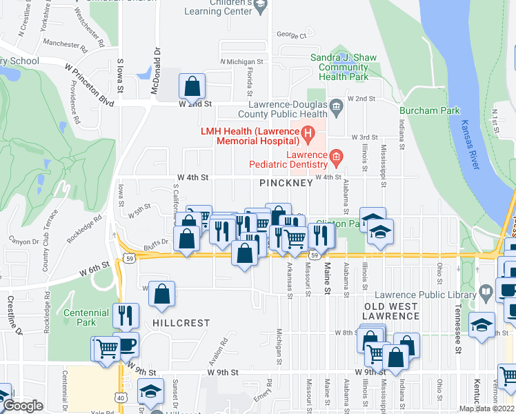 map of restaurants, bars, coffee shops, grocery stores, and more near 440 Florida Street in Lawrence