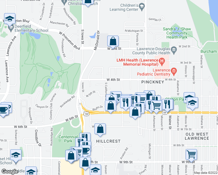 map of restaurants, bars, coffee shops, grocery stores, and more near 446 Grandview Terrace in Lawrence