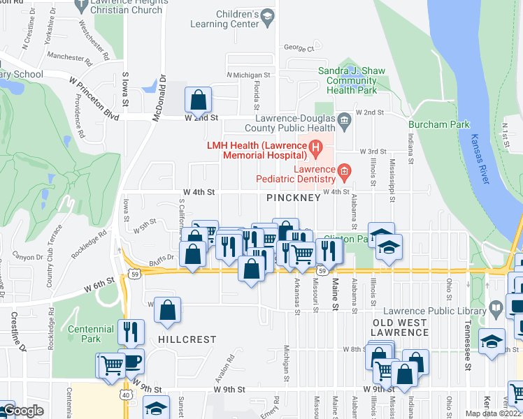 map of restaurants, bars, coffee shops, grocery stores, and more near 444 Florida Street in Lawrence