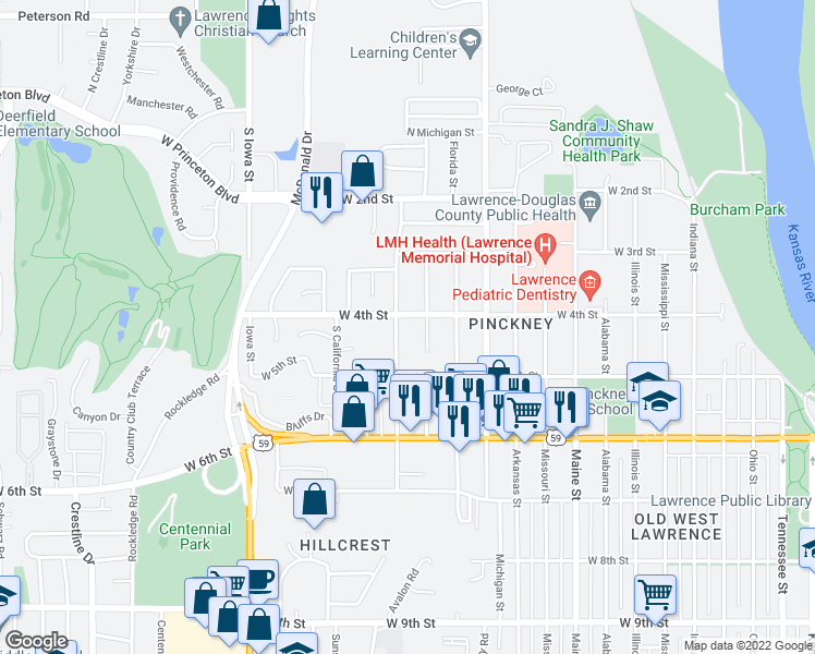 map of restaurants, bars, coffee shops, grocery stores, and more near 400 Wisconsin Street in Lawrence